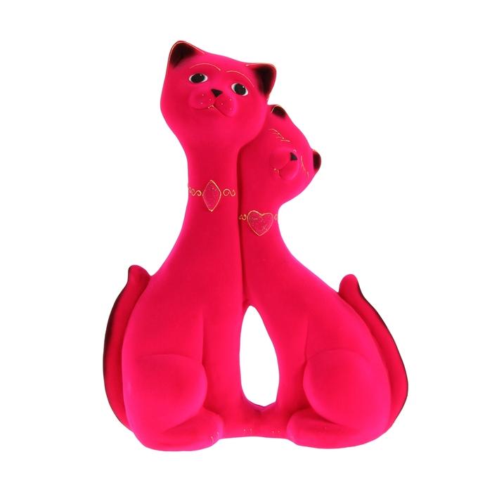 """Копилка """"Влюбленная пара"""" большая, флок, розовая"""