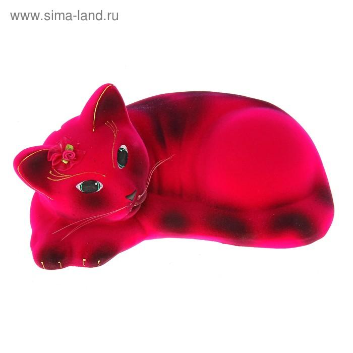 """Копилка """"Кошка Соня"""" флок, розовая"""