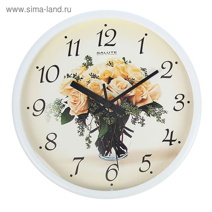 """Часы настенные круглые """"Букет белых роз"""", цветы"""