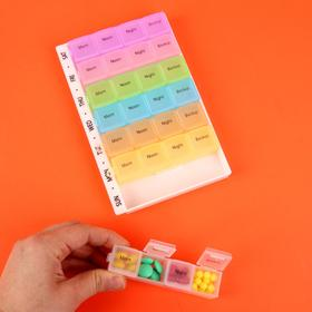 Pill box organizer-the-Week, English letters, morning/afternoon/evening/night, 7 containers 4 sections