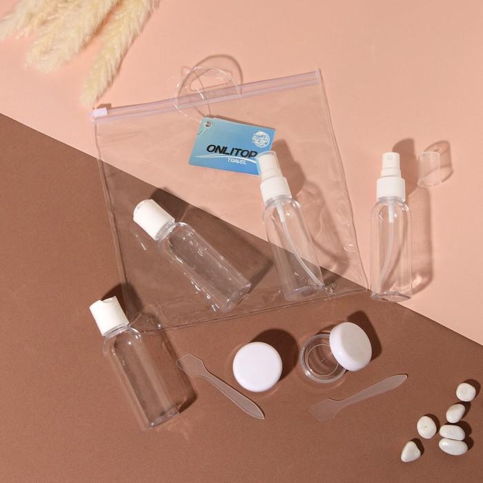 Набор для хранения в чехле: 2 бутылочки-60мл, 2 бутылочки с распылителем-60мл, 2 баночки-10мл, 2 лопатки
