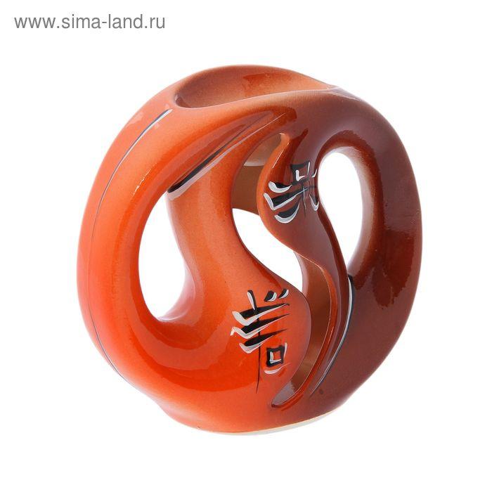 """Аромалампа """"Инь-ян"""" коричнево-оранжевая"""