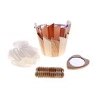Набор банный в деревянном ушате 3 предмета: мочалка-бант, зеркало, массажёр, цвет МИКС