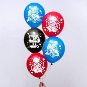 """Воздушные шары """"Super hero"""", Человек-паук (набор 5 шт) 12 дюйм - фото 7268671"""