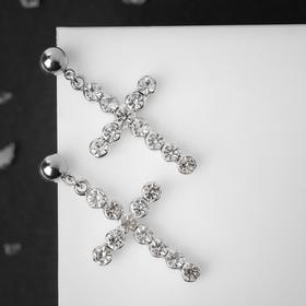 "Earrings with rhinestones ""Crosses"" beads, white color in silver"