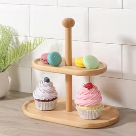 Двухъярусная ваза для фруктов и сладостей, 27,5×15×27 см, бамбук, цвет молочный