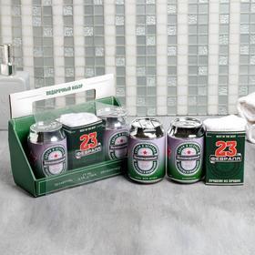 Набор «Непобедимый» гель и шампунь банка пива 250 мл аромат сливочного пива, полотенце