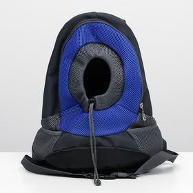 Рюкзак для переноски животных с креплением на талию, 31 х 15 х 39 см, серый/синий