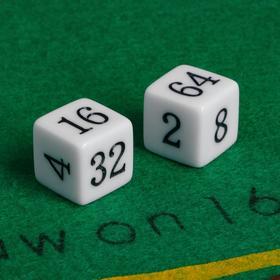 Кубики игральные 1.6 × 1.6 см, набор 2 шт., пластик, стороны: 2-4-8-16-32-64