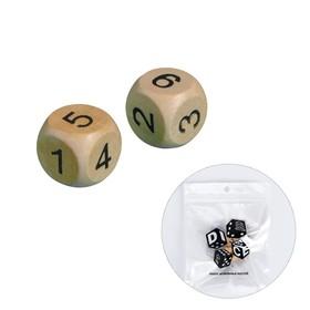 Кубики игральные 2 × 2 см, набор 2 шт., дерево, стороны: 1-2-3-4-5-6