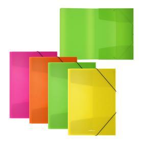 Папка для тетрадей на резинке А5+, 550 мкм, ErichKrause Diagonal Neon, до 300 листов, микс