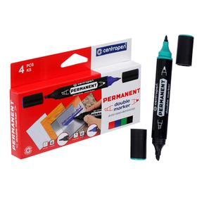 Набор маркеров 4 цвета, Centropen 1666/01, двухсторонние, 2.5 мм/4.0 мм пулевидный/скошенный
