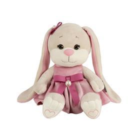 Мягкая игрушка «Зайка Lin» в платьице с розовым поясом, 20 см