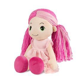 Мягкая игрушка «Кукла Стильняшка» с розовой прядью в платье с воланами, 40 см
