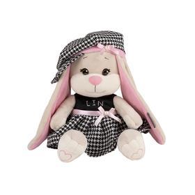 Мягкая игрушка «Зайка Lin» в клетчатом платьице и шапочке, 20 см