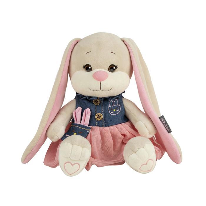 Мягкая игрушка «Зайка Lin» в сине-розовом платьице, 20 см - фото 106145957