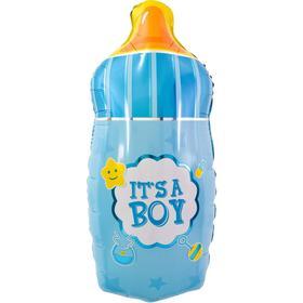 """Шар фольгированный 29"""" фигура """"Бутылочка для малыша""""голубой"""