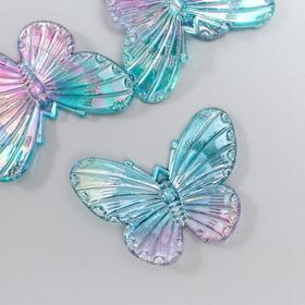"Декор для творчества пластик ""Бабочки голубо-сиреневые"" набор 5 шт 3,2х4,1 см"