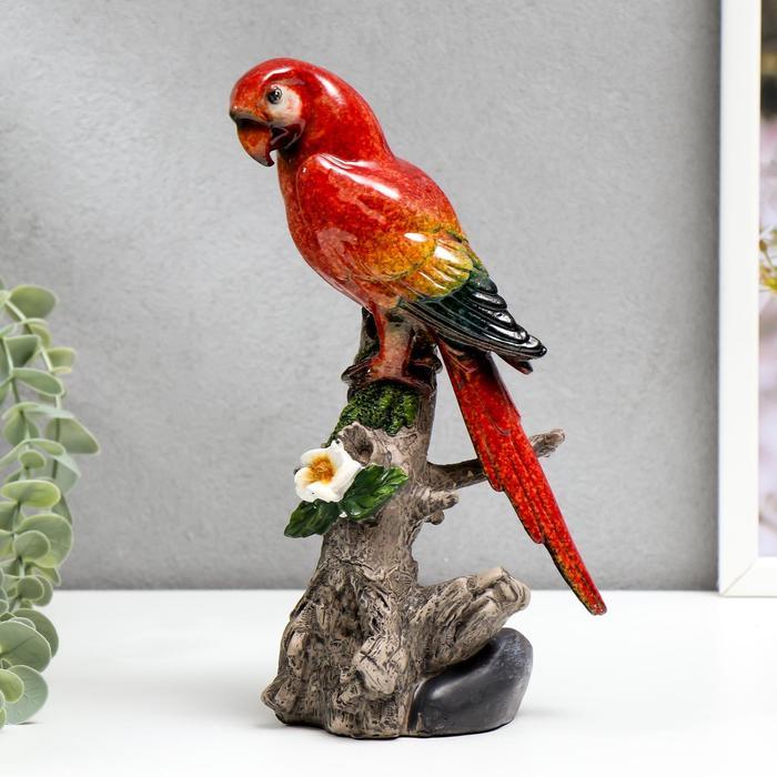 "Сувенир полистоун лак ""Красный попугай Ара на дереве"" 21х10,5х8 см - фото 9214390"