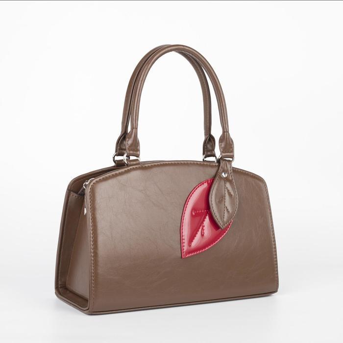 Сумка женская, отдел на молнии, наружный карман, длинный ремень, цвет коричневый - фото 772849
