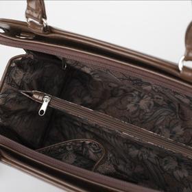 Сумка женская, отдел на молнии, наружный карман, длинный ремень, цвет коричневый - фото 52758
