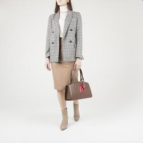 Сумка женская, отдел на молнии, наружный карман, длинный ремень, цвет коричневый - фото 52759