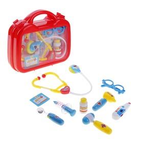 Набор доктора в чемоданчике 9 предметов, со звуковыми и световыми эффектами, работает от батареек
