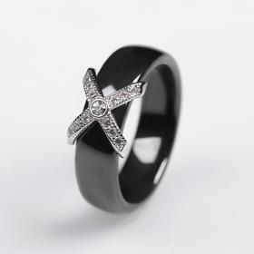 """Кольцо керамика """"Сплетение"""", цвет чёрный в серебре, 16 размер"""