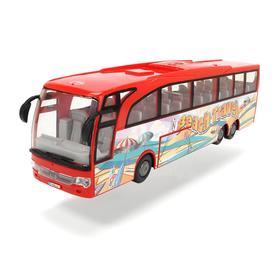Туристический автобус 30 см, инерция, открываются двери, багажник, цвет красный