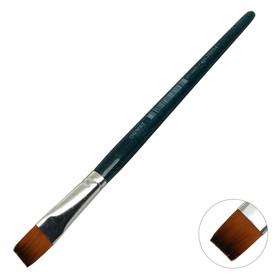 Кисть плоская, Andy, № 14, d-14.0 мм, L-17 мм (короткая ручка), синий лак, «Малевичъ», синтетика