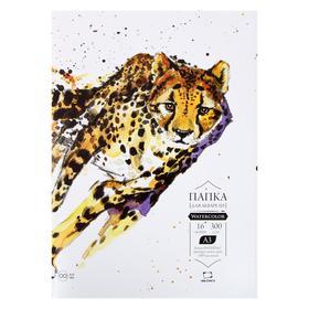 "Бумага А3 для акварели в папке, ""Малевичъ"" Waterfall, 297 x 420 мм., 300 г/м² 16 листов"