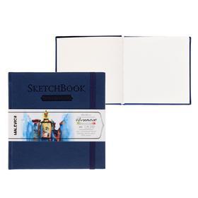 Скетчбук для акварели, хлопок 25%, 145 х 145 мм, 40 листов, 200 г/м², сшитый, Fin (мелкое зерно), «Малевичъ», Veroneze, тёмно-синяя обложка