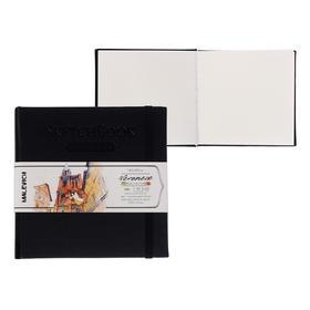 Скетчбук для акварели, хлопок 25%, 145 х 145 мм, 40 листов, 200 г/м², сшитый, Fin (мелкое зерно), «Малевичъ», Veroneze, чёрная обложка