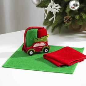 """Набор полотенец в корзинке Этель""""Новый год"""" цв. красный/зеленый,30х30 см-2 шт, 100% хл"""