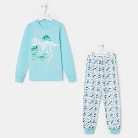Пижама для мальчика, цвет светло-голубой, рост 104-110 см