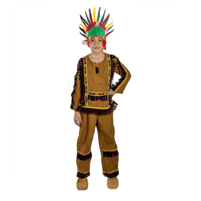 Карнавальный костюм «Индеец», штаны, рубашка, лента с пером, р. 30, рост 122 см - фото 105521202