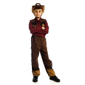 Карнавальный костюм «Ковбой», шляпа, рубашка, жилетка, брюки, р. 34, рост 134 см
