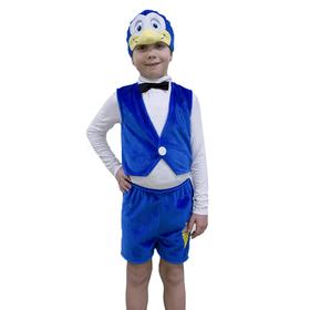 Карнавальный костюм «Пингвинчик», маска-шапочка, жилетка, шорты, рост 122-128 см