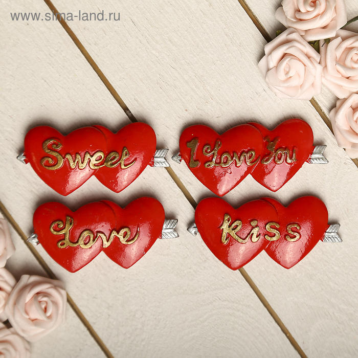 "Магнит ""2 сердца со стрелой. LOVE"", МИКС"