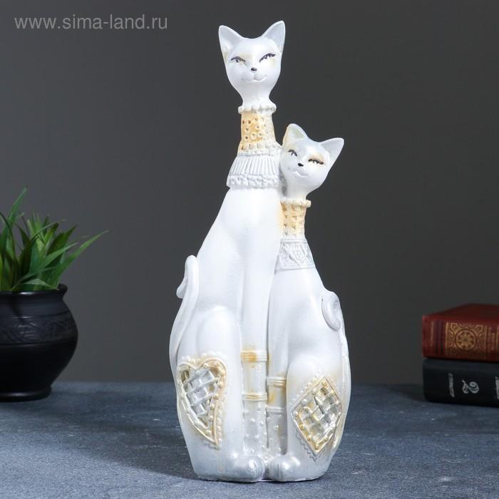 """Сувенир """"Кошечки Сладкая парочка"""" белые с серебром"""