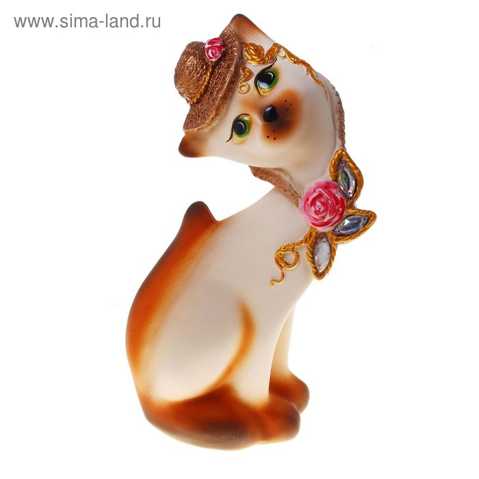 "Сувенир ""Кошка Алёнка"" в шляпе бежевая"