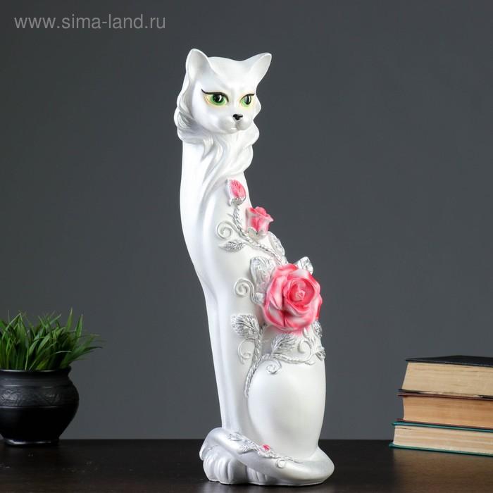 """Сувенир """"Кошка Маркиза"""" с крупной розой белая с серебром"""