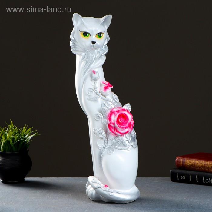 """Сувенир """"Кошка Маркиза"""" с крупной розой аэрограф белая"""