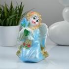 """Сувенир """"Ангел с цветами"""", цвет голубой"""