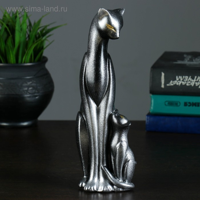 """Сувенир """"Кошка Багира с ребёнком"""" малая сидячая новая, черная с серебром"""