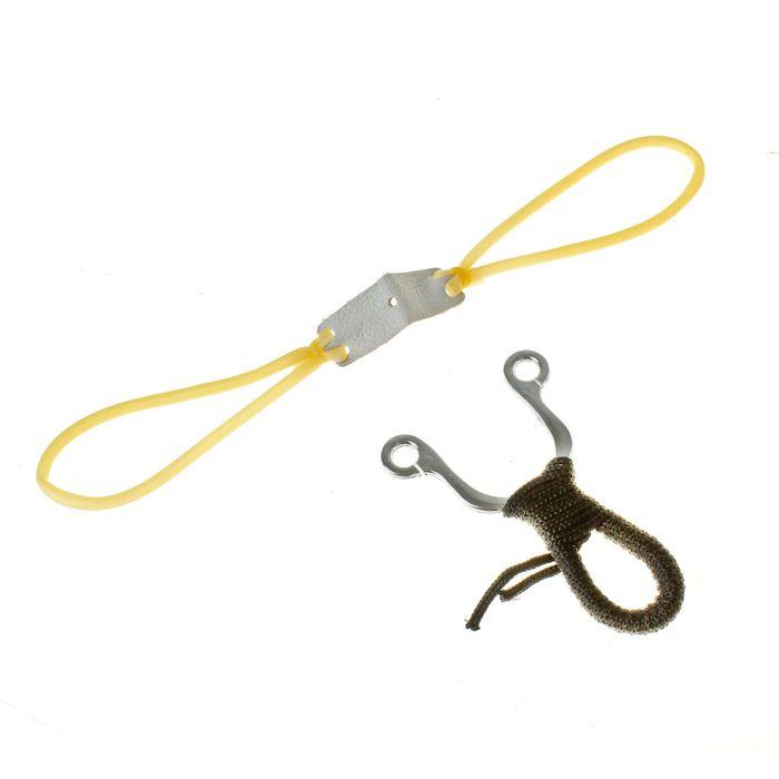 Рогатка, двойной жгут, ушки круглые, рукоять в текстильной обмотке