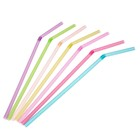 Трубочки для коктейлей 0,5х21 см, 100 шт, неоновые с гофрой, цвет МИКС