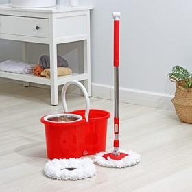 Набор для уборки: ведро с металлической центрифугой 14 л, швабра, запасная насадка из микрофибры, цвет МИКС. Разобранный, продаётся кратно боксу Ош