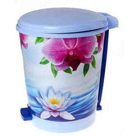 """Ведро с педалью для мусора 12 л """"Лотос"""", цвет голубой"""