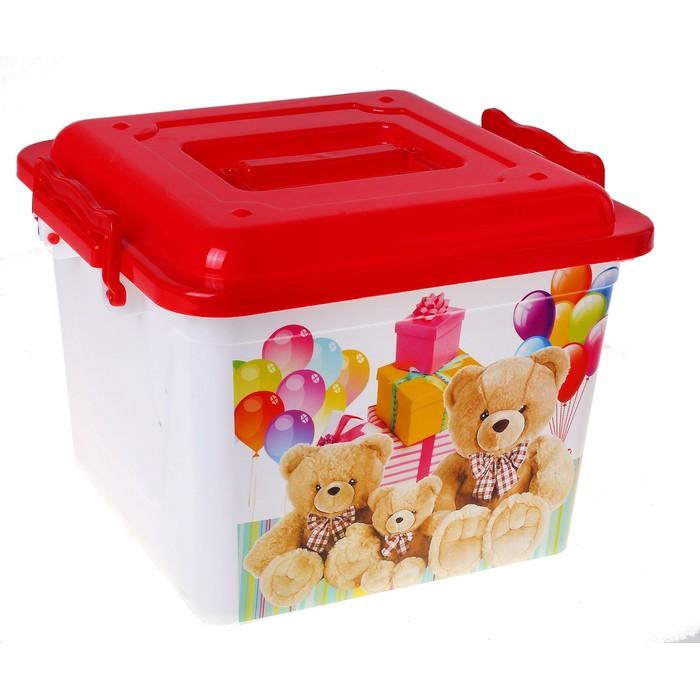 """Ящик для игрушек 8,5 л """"Мишки"""" с крышкой, цвет красный"""